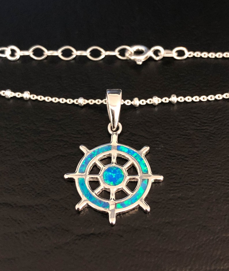 Sterling Silver Beaded Ankle Bracelet Opal Helm Anklet Sailing Wheel Charm Anklet Blue Fire Opal Jewelry Good Luck Charm Jewelry