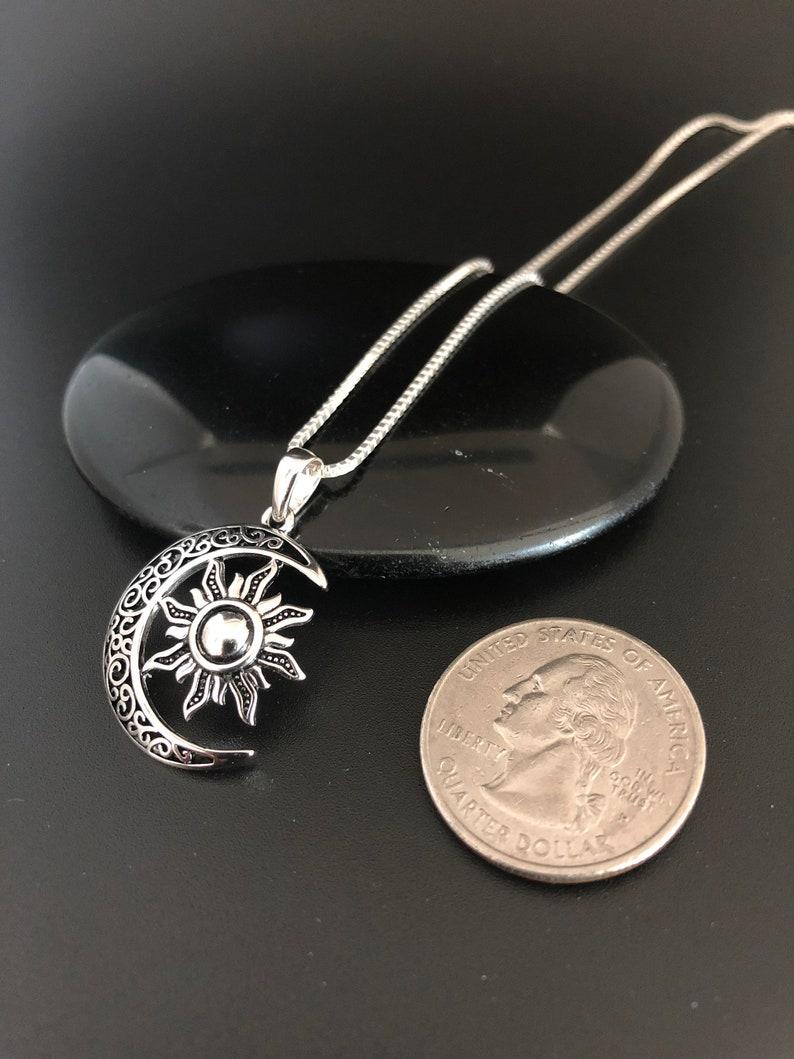Celtic Moon and Sun Necklace Crescent Necklace Sun Charm Pendant Moon Charm Pendant Sterling Silver Celtic Necklace Celtic Necklace