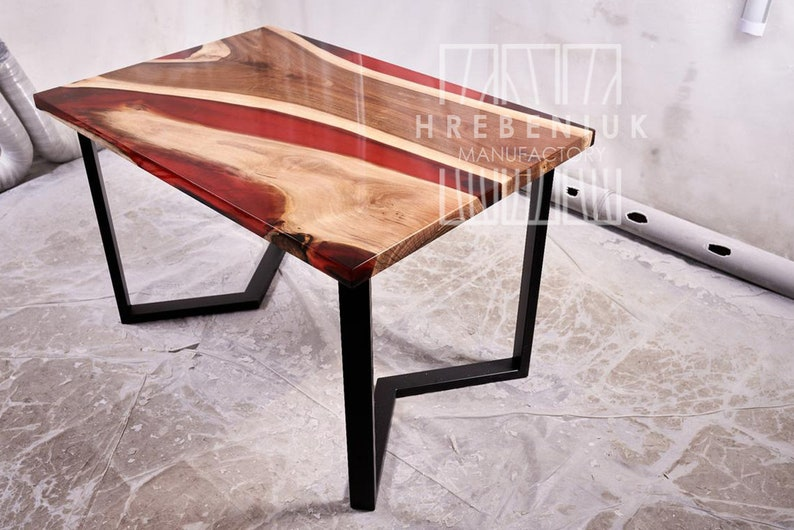 Red river Live edge natural wood table rustic epoxy top resin table farmhouse dine table living room slab table red epoxy 6 sits table