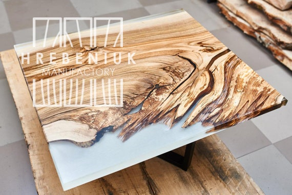Coffee table Slab wood table White Epoxy Choice of sizes and colours 100 year old wood, end table, coffee table