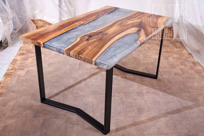 Grey Colored Epoxy Resin Made Gaming Desk