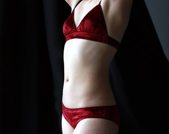 480ea7b3f Red velvet lingerie set- burgundy velvet bralette and panty set, velvet  lingerie set, sexy lingerie gift set