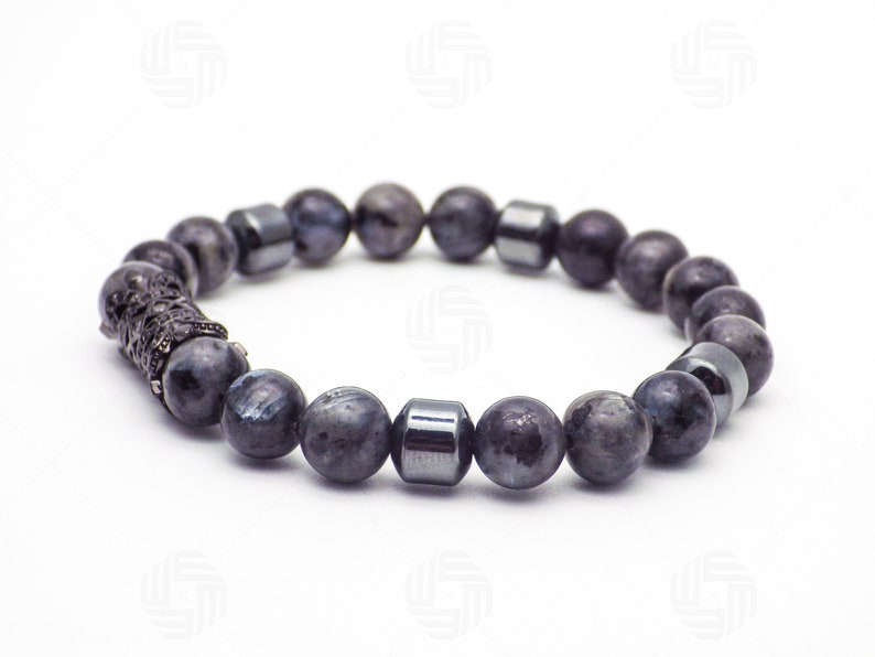 8mm Mens Natural Labradorite Hematite Bracelet CZ Micro Pave Tube Stress Anxiety Relief Power Fathers Day Anniversary Birthday Gift For Him
