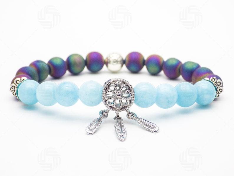 8mm Beautiful Women Blue Aquamarine Geode Silver Dream Catcher Charm Jewelry Bracelet Chakra Gemstone Healing March Birthstone Gift For Her