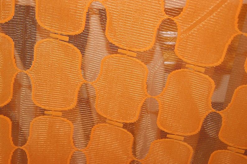 Vintage 60s 70s mid century modernist Panton era Ready to hang Psychedelic Funky Geometric Orange Rectangle Filet Sheer Curtain Drape
