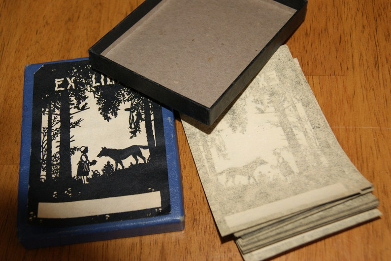 Vintage Little Riding Hood Wolf Forest Silhouette Ex Libris Personalized Book Owner Cards Mint Original Box