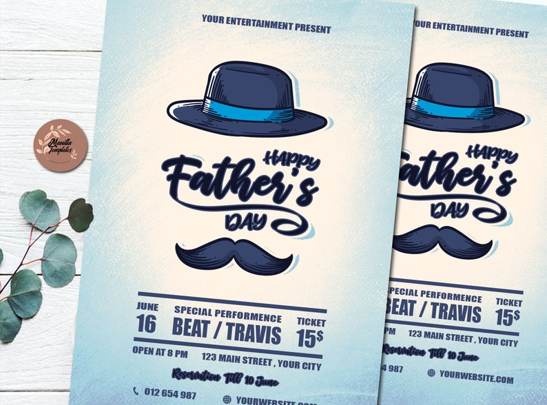Father\u2019s day Flyer /& Greeting card Template Illustration DIY Photoshop Template Design Template poster