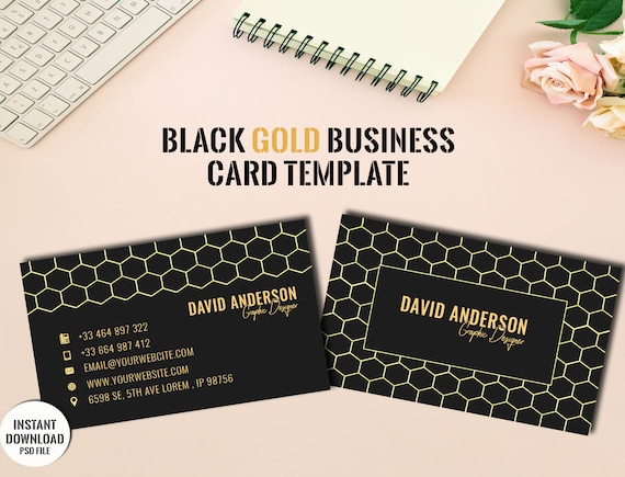 Black Gold Business Card Templatecarte De Visite Noire Printable Business Card Template Instant Downloadphotoshop File
