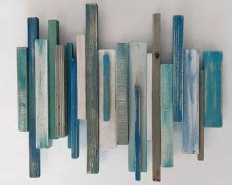 "Beach House Coat Rack 18""x 12"", towel rack wall mount in blues"