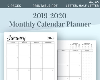graphic regarding Calendar Printable Monthly called Every month calendar Etsy