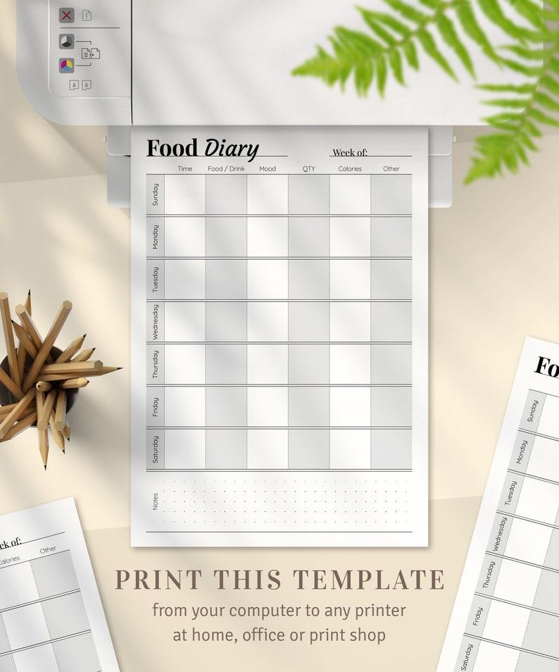 Weekly Food Diary Template, Weekly Menu Planner, Meal Planner, Printable  Food Journal, Diet Journal, Food Log, Food Track, Printable PDF