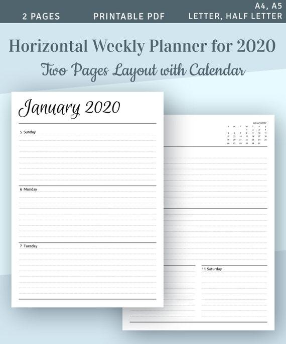 Filofax Personal Year Planner horizontal 2021 Diary