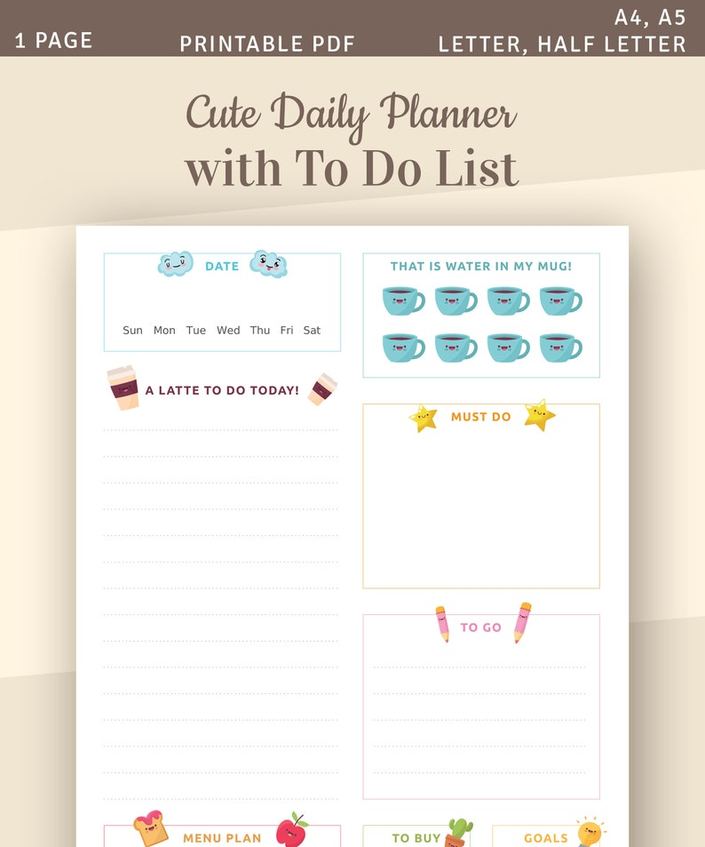 Cute Daily Planner with To Do List, Daily Agenda Template, Printable Daily  Organizer, Instant Download Printable PDF