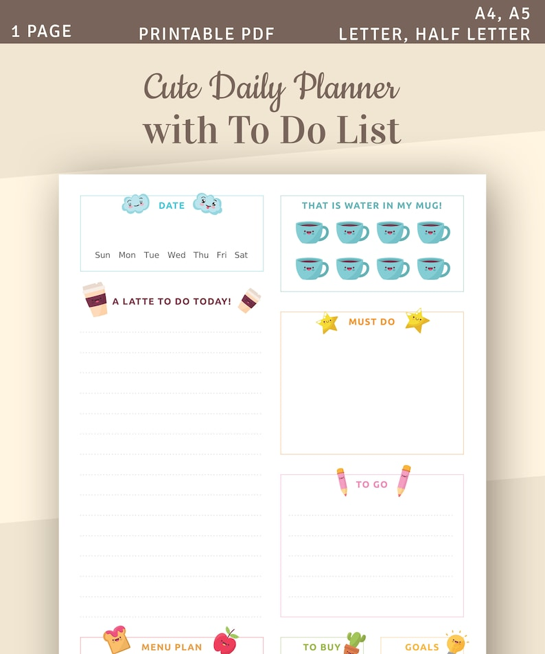 image relating to Cute Printable to Do List Pdf named Adorable Everyday Planner with In the direction of Do Checklist, Day-to-day Plan Template, Printable Every day Organizer, Immediate Obtain Printable PDF