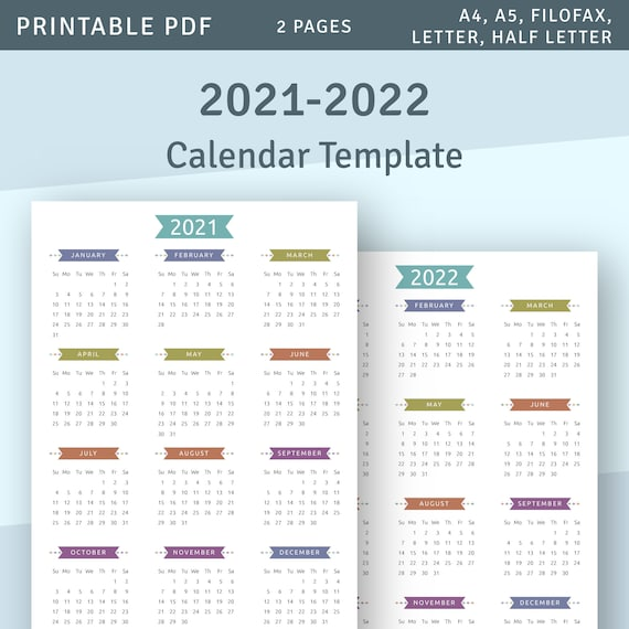 2022 Calendar At A Glance.Printable Calendar 2021 2022 Year At A Glance Yearly Etsy