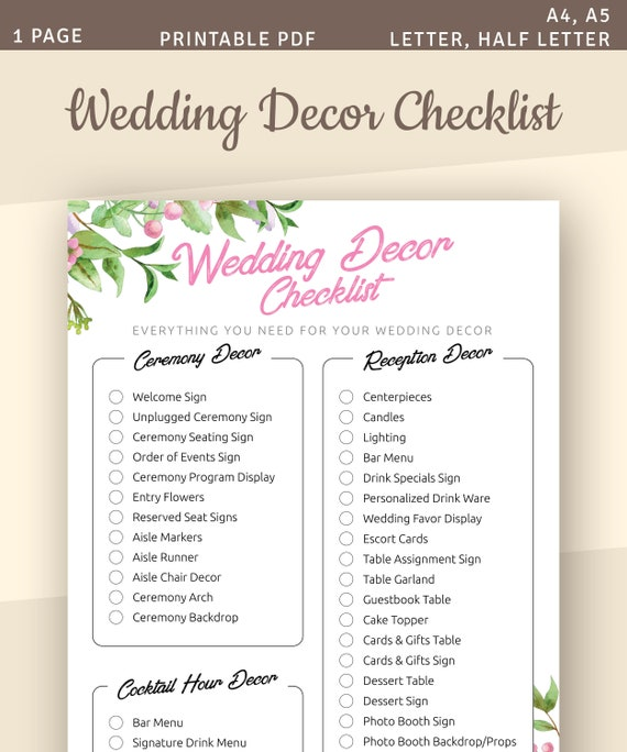 Wedding Decor Checklist.Wedding Decor Checklist Printable Template A4 A5 Letter Half Letter Instant Download