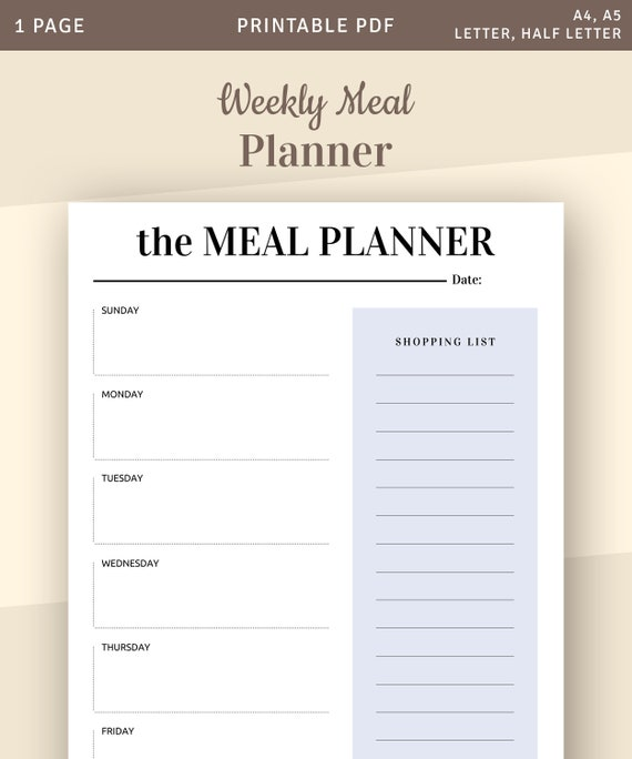 picture relating to Printable Weekly Menu known as Weekly Supper Planner With Searching Listing, Printable Weekly Menu Planner, Prompt Obtain Printable PDF