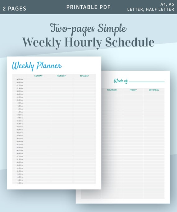 Weekly Hourly Schedule Template Hour By Hour Planner Appointment Calendar Instant Download Printable Pdf