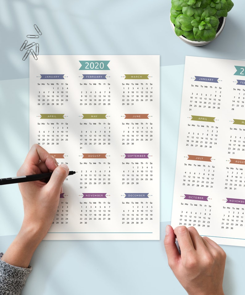 Printable Calendar 2020 2021 Year At A Glance Yearly | Etsy