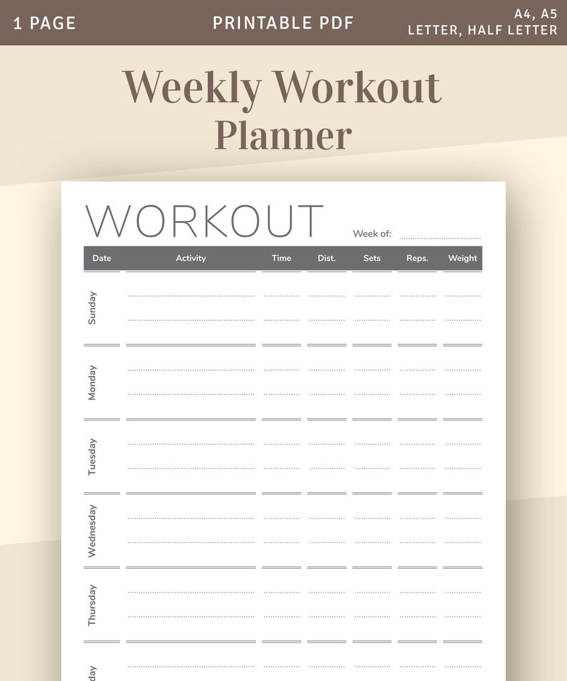 image about Fitness Journal Printable named Conditioning Magazine Printable Web page, Weekly Exercise session Planner Template, Training Log, Exercise Planner Inserts, Fat Reduction Tracker, Printable PDF