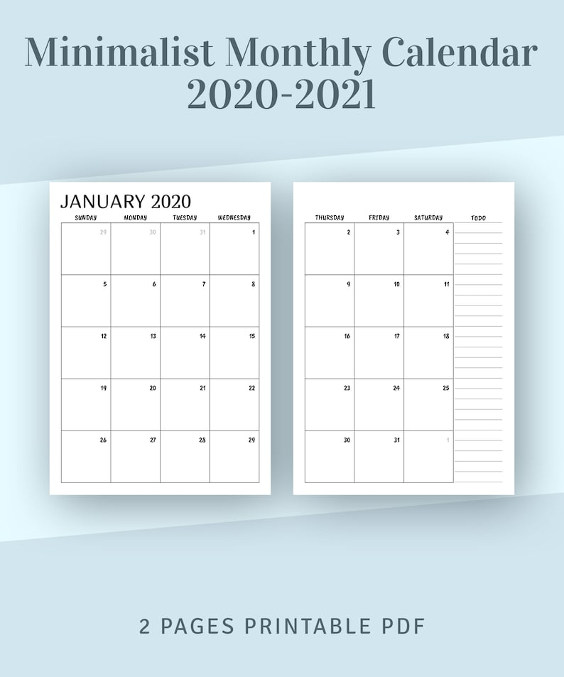 Printable Calendar Monthly 2020 2021 Month on Two Page | Etsy