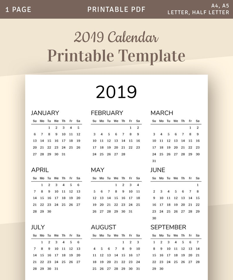 One Page Calendar, 2019 Yearly Calendar Printable Template, Year at a  Glance, Sunday Monday Start, Printable PDF, A4, A5, Letter, Half Size