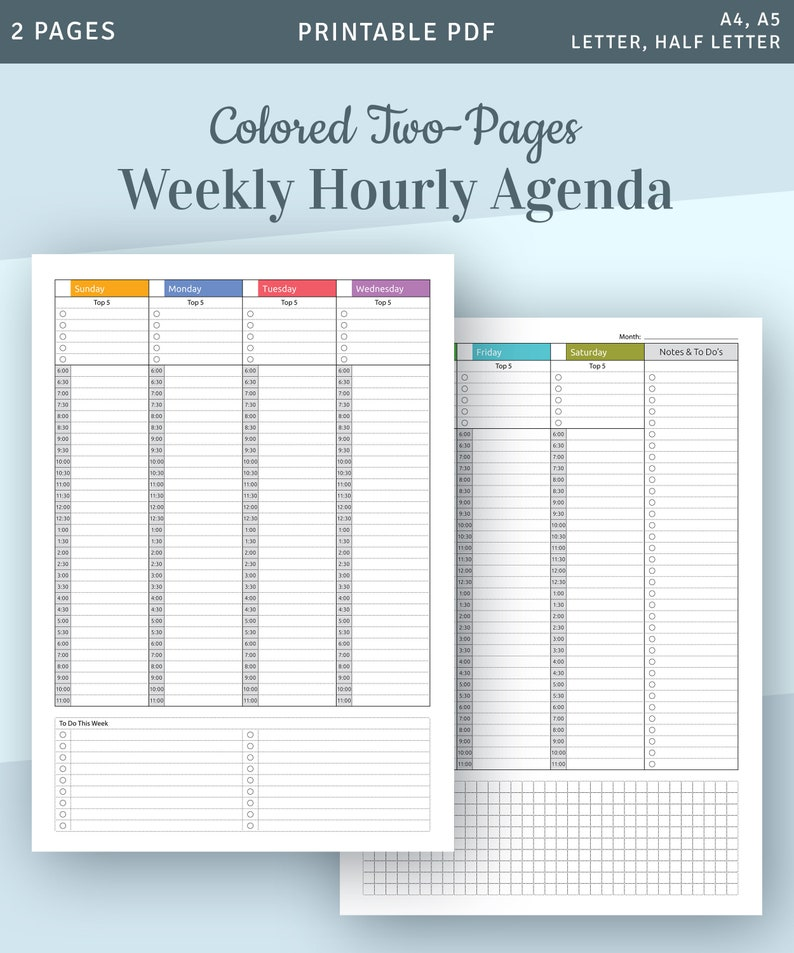 graphic about Weekly Hourly Planner Pdf titled Hourly Planner Printable, Weekly Planner Printable, Hourly 2019 Planner, Weekly Appointment Planner, Routine Template, Each day Planner PDF