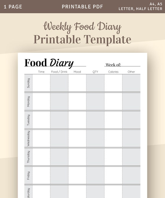 Daily Food Diary Template from i.etsystatic.com