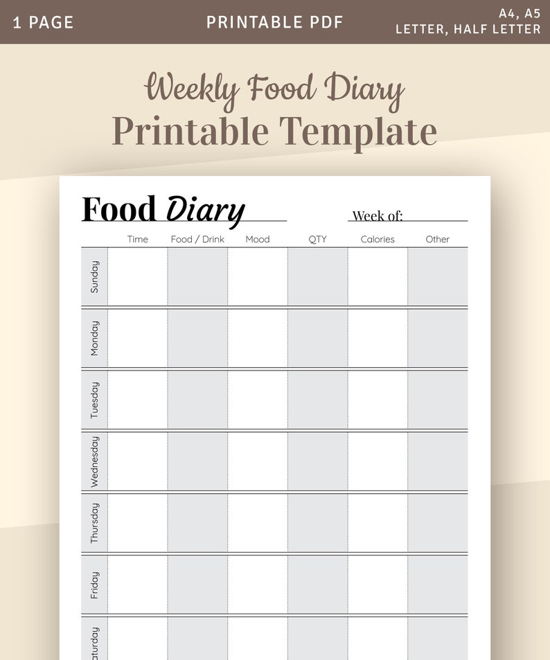 photograph about Printable Food Journal Pdf named Weekly Foods Diary Template, Weekly Menu Planner, Supper Planner, Printable Meals Magazine, Diet program Magazine, Food stuff Log, Meals Keep track of, Printable PDF