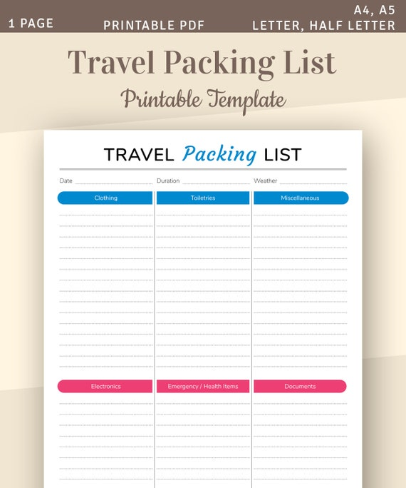 Travel Packing List Packing Checklist Vacation Packing Etsy