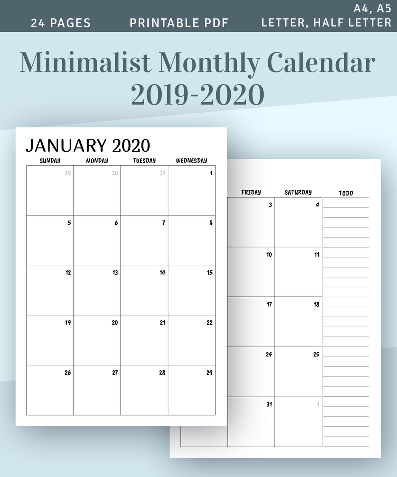 graphic about Printable Monthly Calendars referred to as Printable Calendar Month to month 2019 2020, Thirty day period upon 2 Website page Planner, Minimalist Printable Month-to-month Calendar Template, Calendar year Calendar PDF Include