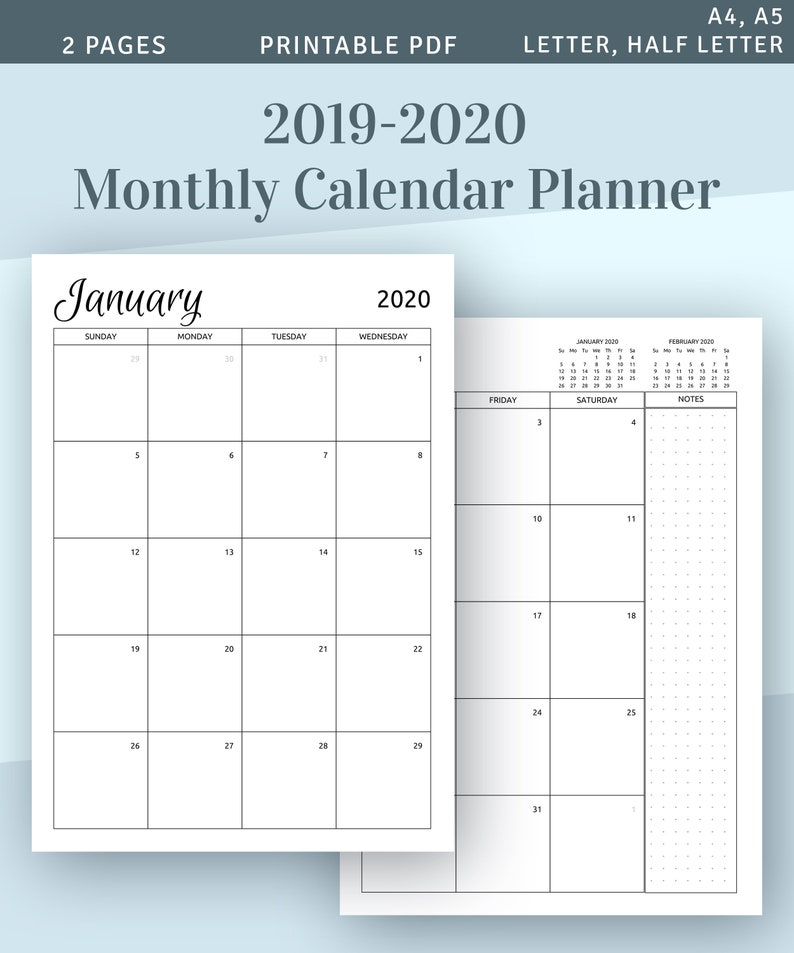 photo regarding Monthly Calendar Printable identify 2019 - 2020 Regular monthly Calendar Printable Template, Obtain 2019 Calendar Printable, 2 Web site Planner Add PDF, A4 A5 Letter dimensions Filofax