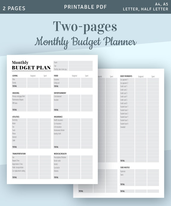 Monthly Budgeting Printable Template Printable Monthly Budget Forms Budget Organizer Instant Download Printable Pdf