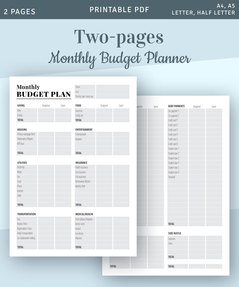 picture regarding Printable Monthly Budget named Every month Budgeting Printable Template, Printable Regular monthly Funds Styles, Spending budget Organizer, Fast Down load Printable PDF