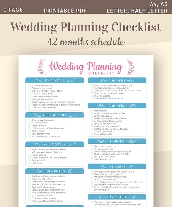 Wedding Planning Checklist Printable Wedding Template A4 Etsy