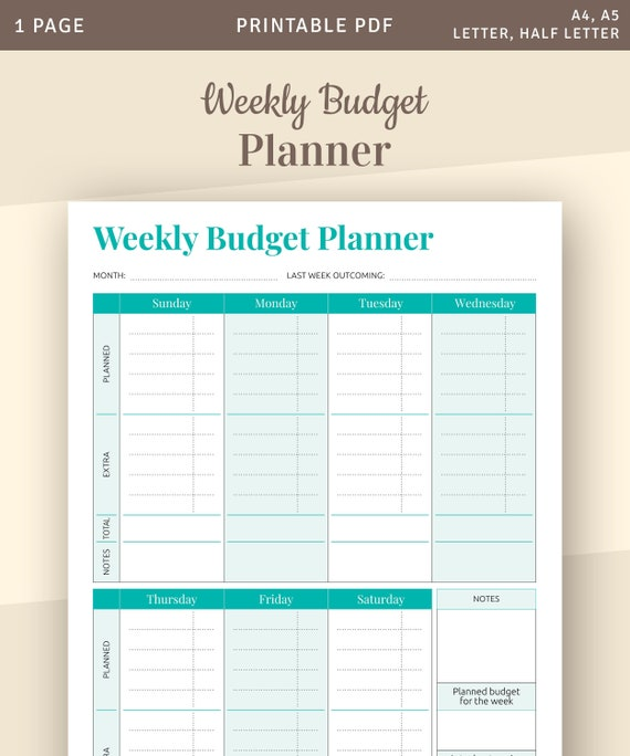 Weekly Budget Planner Template Family Budget Printable | Etsy