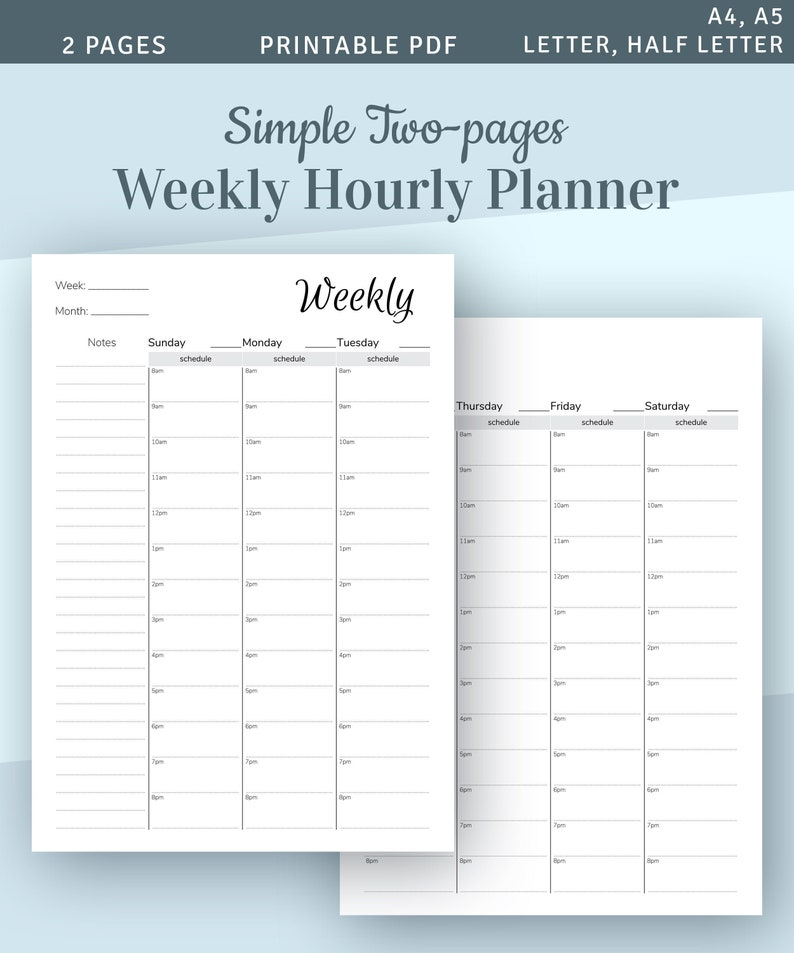 image relating to Hourly Planner Pdf called Weekly Hourly Planner Template, 2-webpages Weekly Program, 2019 2020 Hourly Planner, Prompt Obtain Printable PDF