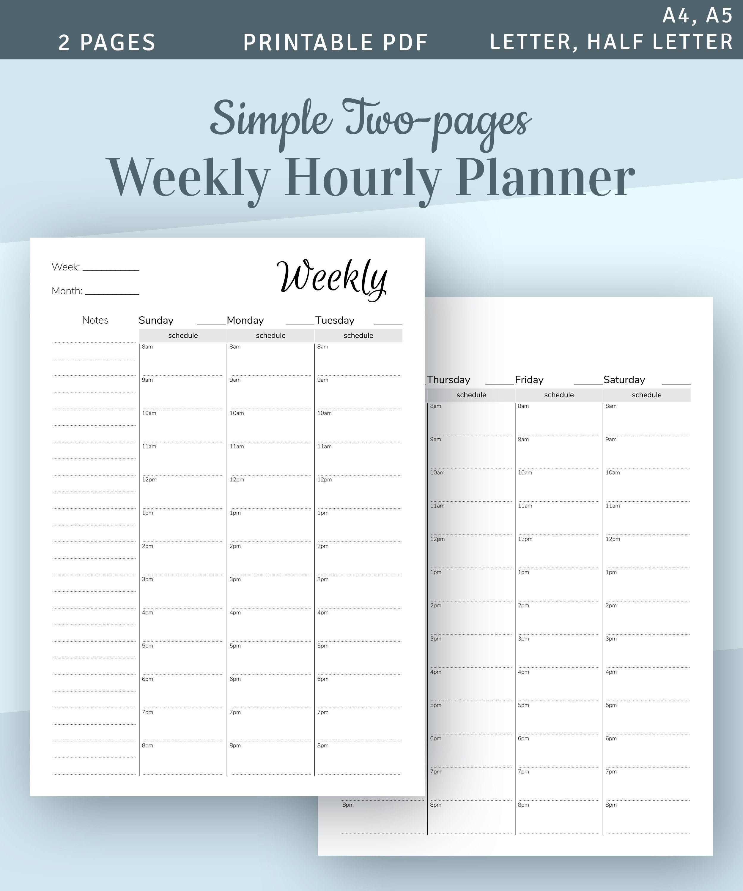 picture about Weekly Hourly Planner Pdf known as Weekly Hourly Planner Template, 2-internet pages Weekly Timetable, 2019 2020 Hourly Planner, Fast Down load Printable PDF