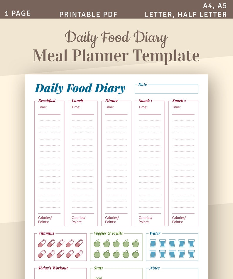 Daily Food Diary, Meal Planner Template, Printable Food Tracker, Diet  Diary, Instant Download Printable PDF