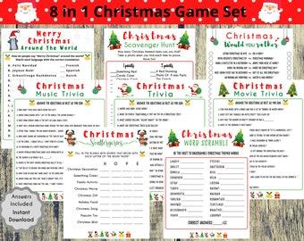 8 Christmas Game Set, Christmas Printable Games, Christmas Day Bundle, Christmas Games, Christmas Party Games, Fun Holiday Games