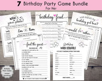 Twenty Questions Adult Birthday Game Bundle for her Favorite Memory Whats in Your Phone Instant 104 Printable Kraft Birthday Games