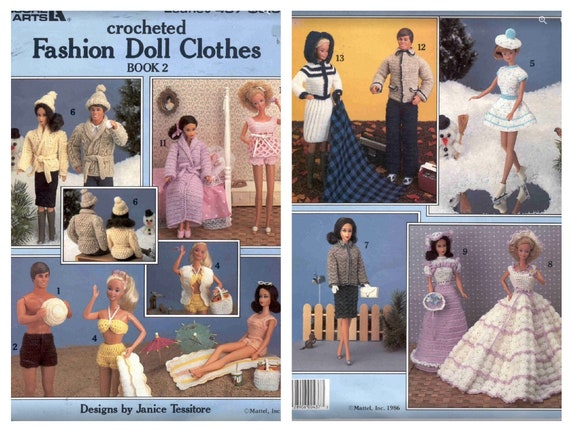tutorials in English Vintage magazine years 80 in PDF format patterns crochet clothing patterns for Barbie doll