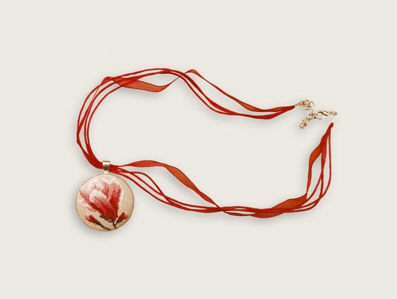 Floral pendant kit Pendant kit Cross stitch pendant Pendant with embroidery Spring pendant kit Handmade pendant kit Jewelry making kit