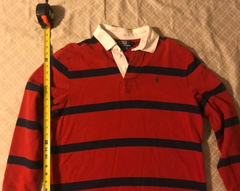 af83b275b VINTAGE Polo Ralph Lauren White Collar Rugby. Red with Blue Stripes Size    Large