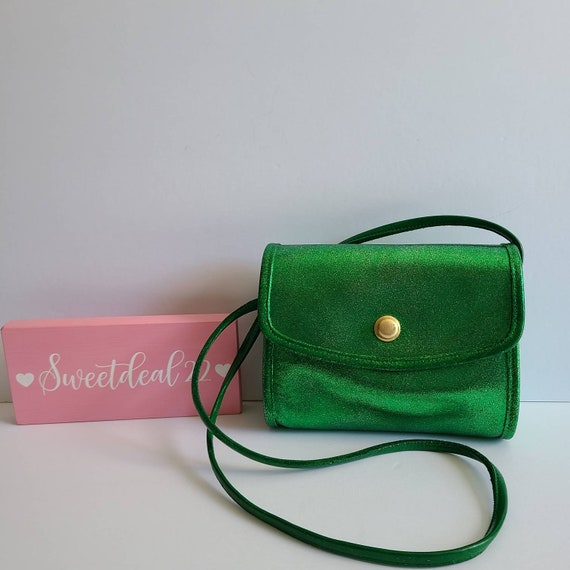 Custom Vintage Coach Chrystie  Green Glitter Shoul