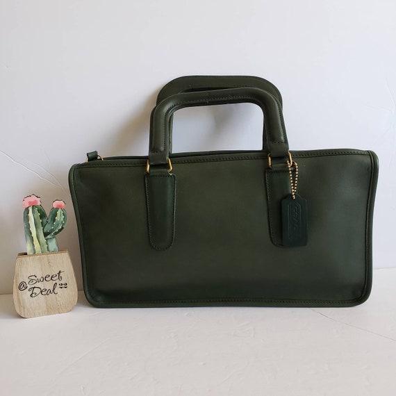 Vintage Coach Original Green Handle Clutch Slim To