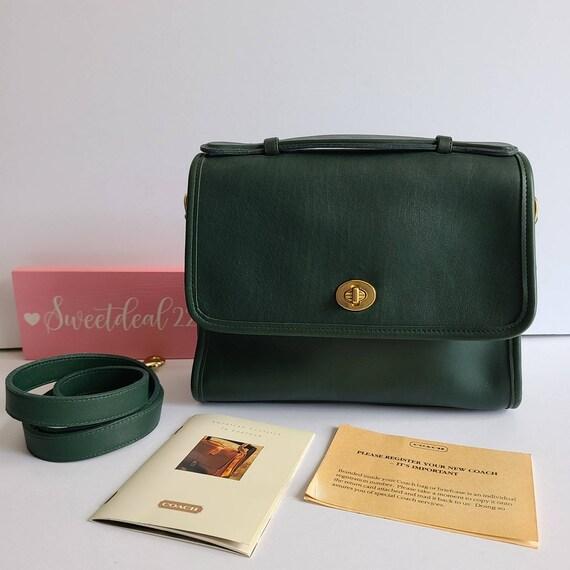 Pristine Vintage Coach Green Top Handle Court Bag