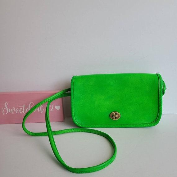 Custom Neon Green Vintage Coach Nyc Dinky Bag