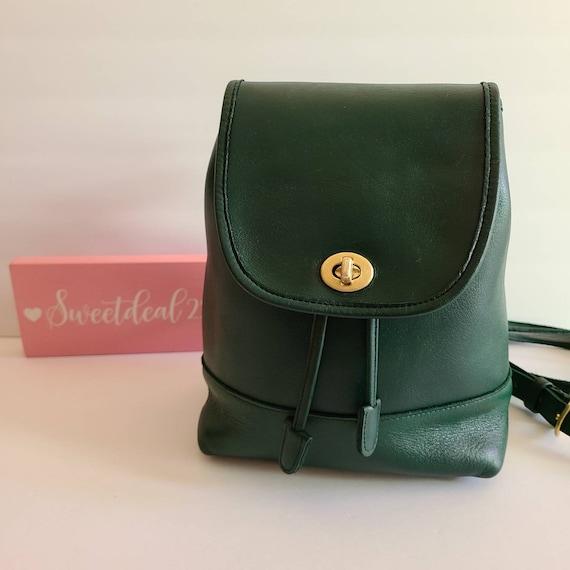 Restored Vintage Coach Green Mini Daypack Backpack