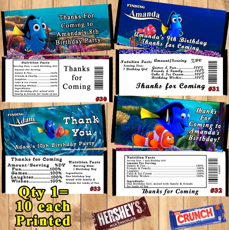 Finding Dory Finding Nemo Printed Birthday 10 ea Candy Bar Wrappers Personalized Custom Made